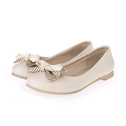 WeiPoot Womens Round Closed Toe No Heel Soft Material Solid Pull On Flats-Shoes Beige Eg2En