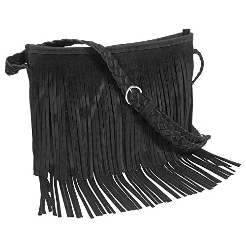 CHIC DIARY Faux Suede Fringe Tassel Crossbody Messenger Bag Women Hobo Shoulder Bags Handbag (Black)