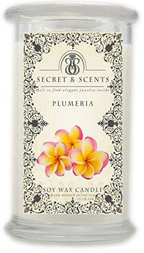 Plumeria Pick - Elegant Jewelry in Soy Candle - Secret and Scents Highly Scented Soy Candles - Pick Your Scent and Jewelry Type (Plumeria, Ring Size 7)
