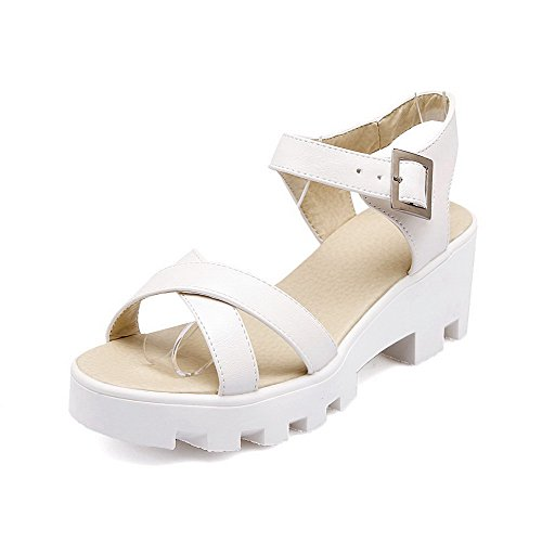 Allhqfashion Donna Materiale Morbido Open Toe Gattini Tacchi Fibbia Solide Piattaforme-sandali Bianchi