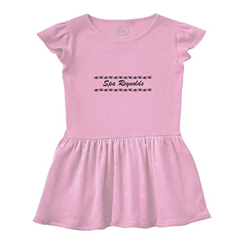 Rib Spa (Personalized Custom Business Spa Reynolds Decoration Short Sleeve Taped Neck Girl Cotton Toddler Rib Dress School Clothes - Soft Pink, 4T)