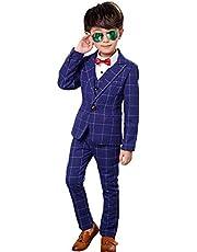 Boys Plaid Suit Blue Formal Outfits Slim Fit, Blazer Vest Pants Bow Tie Kids Tuxedo