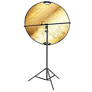 Neewer 5-in-1 Portable Round 43 inches Camera Lighting Reflector/Diffuser Disk with 3-6.5 feet Light Stand and 23.6-47.2 inches Reflector Holder Arm for Photo Studio Photpgraphy