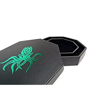 Easy Roller Dice Co. 8 Inch Dice Tray with Lid and Dice Staging Area - Green Cthulhu Design