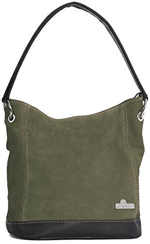 LiaTalia Womens Leather Handbags Top Handle Bag Real Italian Hobo Designer Purses Shoulder Bag - DENISE [Olive]