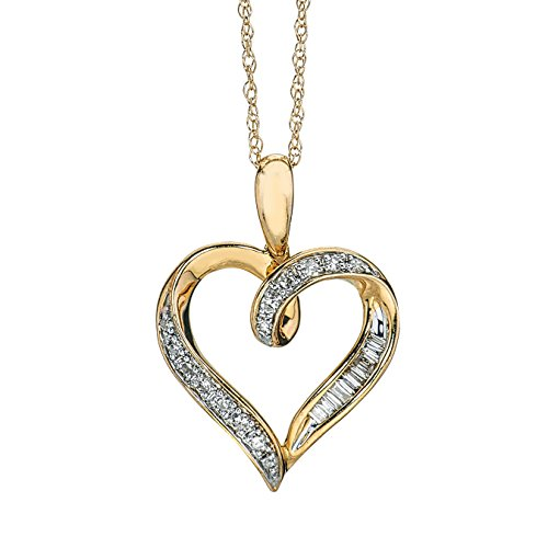 2 Tone Diamond Heart Pendant (Diamond Heart Pendant in 10K Two Tone Gold)