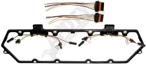 APDTY 726313 Valve Cover Gasket Kit w/Glow Plug Wiring Harness For 1994-1997 Ford 7.3L Diesel Trucks (Services 1 Cover, Purchase 2 If Removing Both Valve Covers, See Image) (Replaces F4TZ-9D930-K)