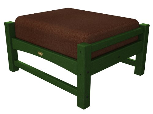 Trex Outdoor Furniture Rockport Club Rainforest Canopy Ottoman with Chili Sunbrella Cushion