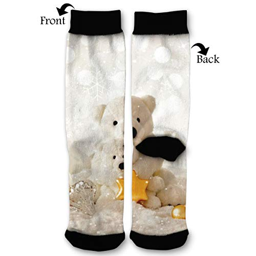 NRIEG Holidays Christmas Teddy High Ankle Sock Men Women All Season Soft Cotton Breathable Printed Sport Compression Socks