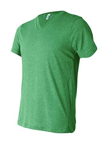 Bella 3415 Unisex Triblend Short Sleeve V-Neck Tee - Green Triblend, Small Bella Short Sleeve T-shirt