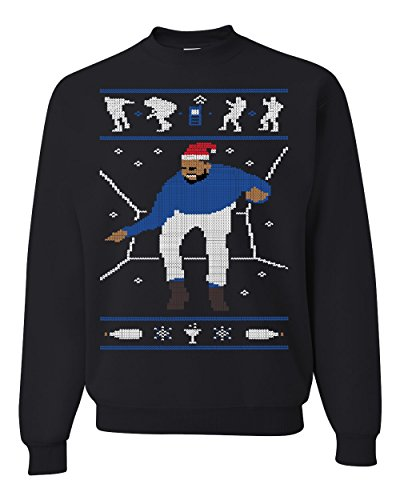 1-800 Hotline Bling Drake Blue Ugly Christmas Sweater Unisex Crewneck Sweatshirt ( Black , Large )