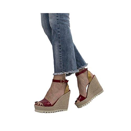 MTBALI Sandalen mit Keilabsatz Alpargata Damen - Modell Savane Spain Rot
