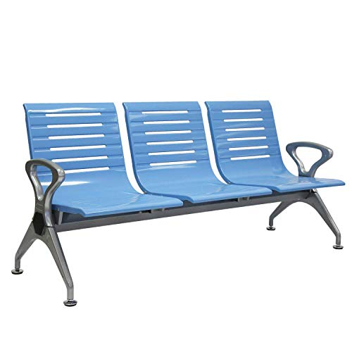 Kinbor 3 Seats Airport Reception Waiting Chair Room Garden Salon Barber Bank Hospital Bench Blue