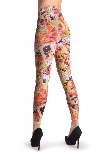 Green & Orange Comics Episode - Multicolore Leggings Taille Unique (34-40)