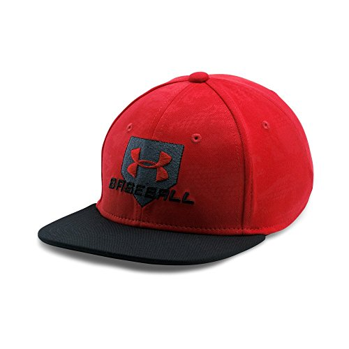 Under Armour Boys' Baseball Embossed Cap, Red/Black, Youth Small/Medium