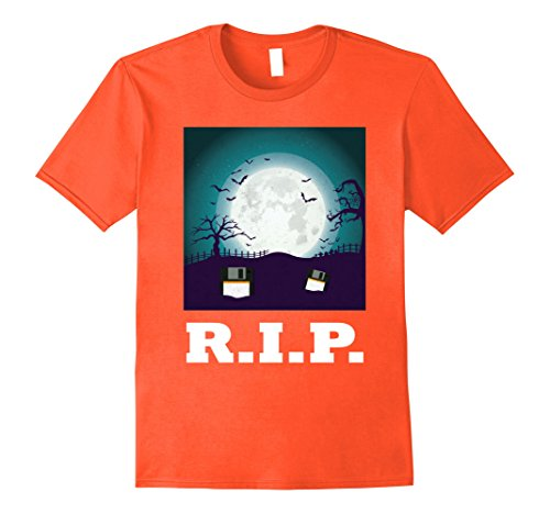 [Mens Floppy Disk Disc RIP Funny 80s 90s Computer Technology Tee 2XL Orange] (80s Nerd Costume)