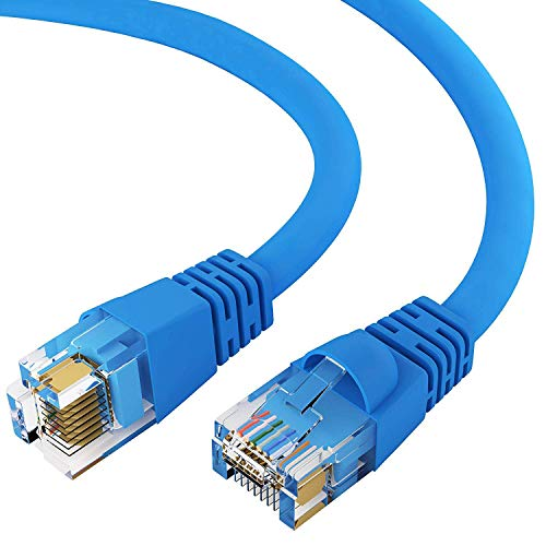 - GOWOS Cat6 Ethernet Cable (5 FT - Blue) 24AWG Network Cable with Gold Plated RJ45 Snagless/Molded/Booted Connector - 10 Gigabit/Sec High Speed LAN Internet/Patch Cable - 550MHz