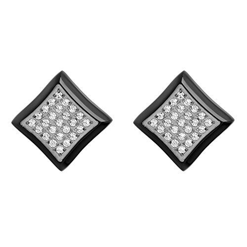 Hip Hop Faux Diamond Stud Earrings (Men's Stainless Steel White Cubic Zirconia Black Square Stud Earrings)