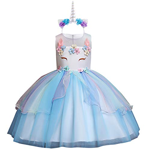 Flower Girls Kids Rainbow Unicorn Costume Birthday Cake Smash Outfits Fancy Cosplay Princess Tulle Tutu Dress up Wedding Pageant Halloween Formal Dance Evening Gown with Headband C-Blue 9-10