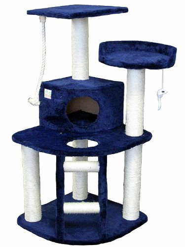 Go Pet Club Cat Tree Condo House, 32-Inch W by 25-Inch L by 47-1/2-Inch H, Blue, My Pet Supplies