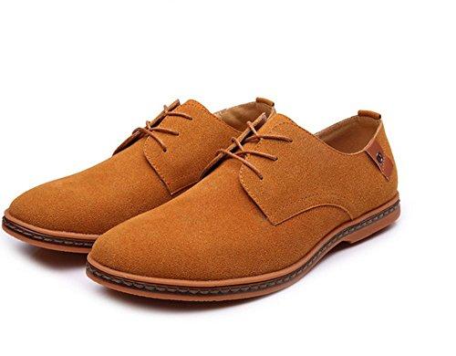 Heren Schoenen Nieuwe Heren Casual Kleding / Formele Oxfords Schoenen Vleugel Tip Suede Leren Flats Lace Up Big Size Schoenen 38-48 Kaki