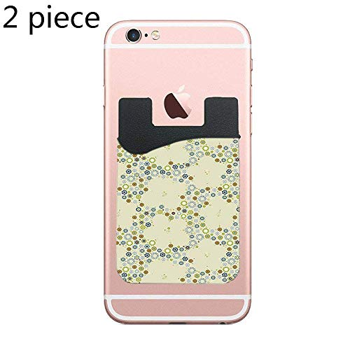 CardlyPhCardH Ornament of Decorative Medallion Shapes Bordered with Small Wildflowers Cell Phone Stick On Wallet Card Holder Phone Pocket for All Smartphones - 2 Piece