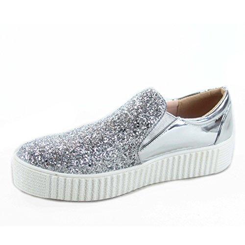 Per Sempre Maglia Regan-2 Moda Donna Punta Tonda Elegante Glitter Scarpe Basse Sneakers Basse Argento