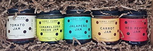Gift Box - 5 Assorted Jam Box: Caramelized Onion 5.2 oz, Tomato jam 5 oz, Red Pepper jam 5 oz, Jalapeño jam 5 oz and Carrot jam 5.2 oz - ()