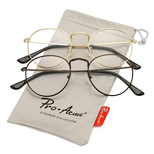 Pro Acme Classic Round Metal Clear Lens Glasses Frame Unisex Circle Eyeglasses (2 Pairs | Gold + ()