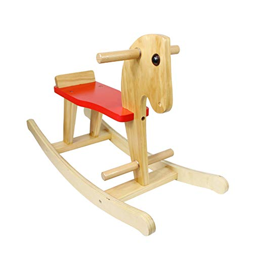 Xiaoyue Baby Wooden Rocking Horse Infant Educational Toy Rocking Horse 1-5 Year Old Child Rocker Toddler Chair Kid Boys and Girl Cartoon Stool Toy Small Bench ()