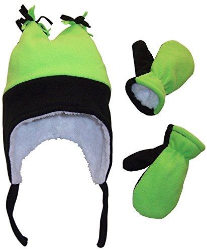 N'Ice Caps Boys Sherpa Lined Micro Fleece Four Corner Ski Hat and Mitten Set (2-3yrs, Black/Neon Green)