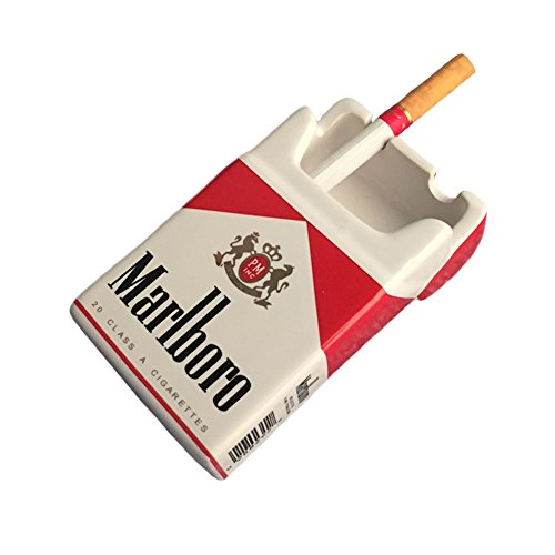 YOURNELO Creative Cute Cratoon Cigarette Case Marlboro Ceramic Cigarette Ashtray for Home Car (Marlboro Red)