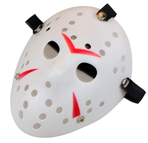 Gmasking Horror Halloween Costume Hockey Mask Party Cosplay Props (White-Red) -