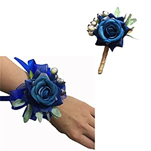 WeddingBobDIY Artificial Blue Rose Flower Groom Boutonniere Bride Wrist Corsage Wedding Flowers Pin Accessories Party Suit Decoration (Boutonniere and Wrist corsage)