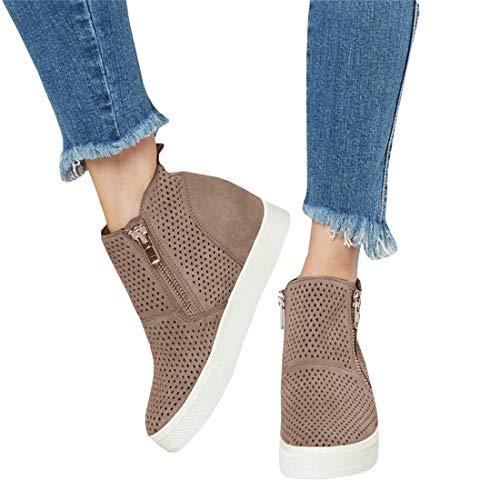 LAICIGO Women's Platform Hidden Wedge Booties Sneakers Almond Toe High Top Zipper Dress Shoes