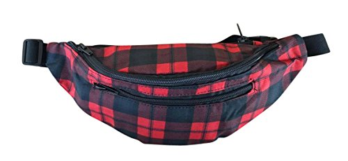 [Festie Fever Rave Fanny Pack (Red Checkered 4-pockets)] (Bum Shorts Costume)