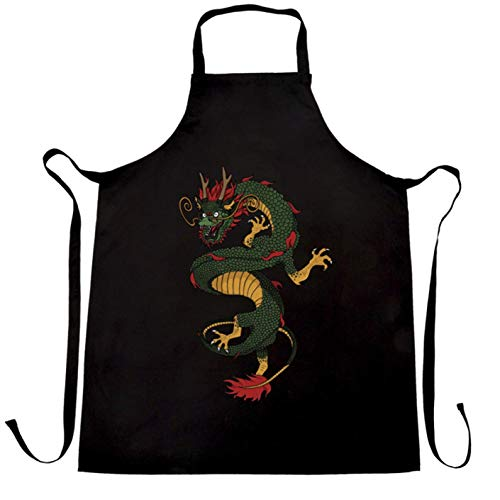 Ashasds Custom Chef Apron Traditional Chinese Chefs Apron Serpent Dragon Art for Women Men Barber Kitchen ()