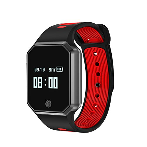 CUAEELO QW12 Men's Woman Bluetooth Smart Watch Smart Bracelet Heart Rate Waterproof Watch Detachable Sports Bracelet for Ios Android Phone (RED)