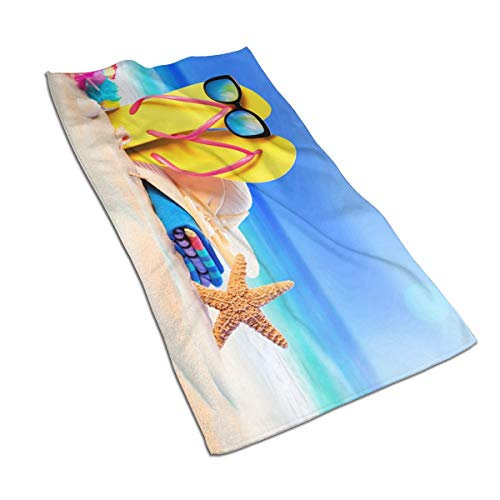 OBILITDREAM Summer Coast Towel Starfish Sand Flip-Flops Face Towel,Hand Towel,Kitchen Towels-Dish 3D Design Pattern Towel,Towels for The Kitchen,Cleaning,Cooking,Baking -