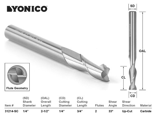 Yonico 31214-SC CNC Router Bit Up Cut Solid Carbide with 1/4-Inch X 3/4-Inch X 1/4-Inch X 2-1/2-Inch 1/4-Inch Shank