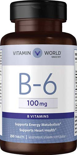 Vitamin World B-6 100mg, Supports Energy Metabolism, Supports Heart Health 250 Tablets