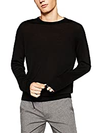 Men's Wool Blend Solid Crew Neck Sweater Pullover