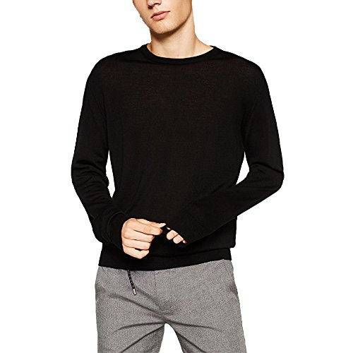 Just No Logo Men's Wool Blend Solid Crew Neck Sweater Pullover(Black,S)