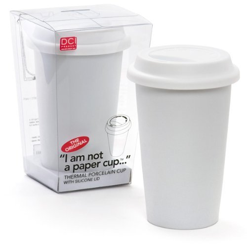 Cup, Travel Coffee Mug, White Lid, 12oz Capacity, White, Porcelain, Spill-Proof (Kitchen Craft White Porcelain)