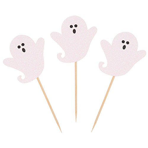 24PCS White Ghost Halloween Party Cupcake Toppers Handcrafted