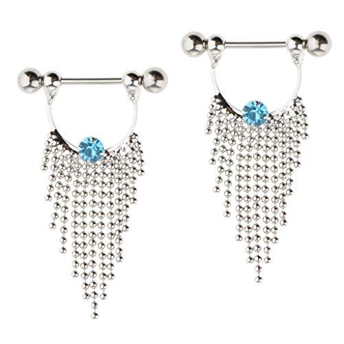 (1 Pair 14g Nipple Rings Nipple Mamilo Shields Body Jewelry Tassels Dangle (Color - Blue Crystal))