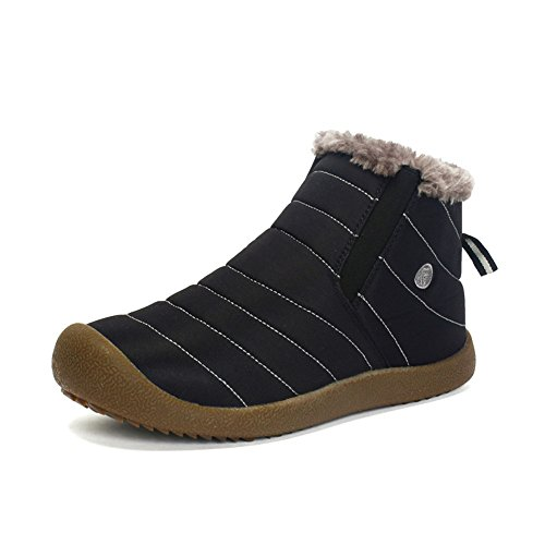 Cooga Women's Waterproof Flat Snow Boots Plus Velvet Winter Lace up Cotton Platform Sneaker Shoes Black 11 B(M) by Cooga