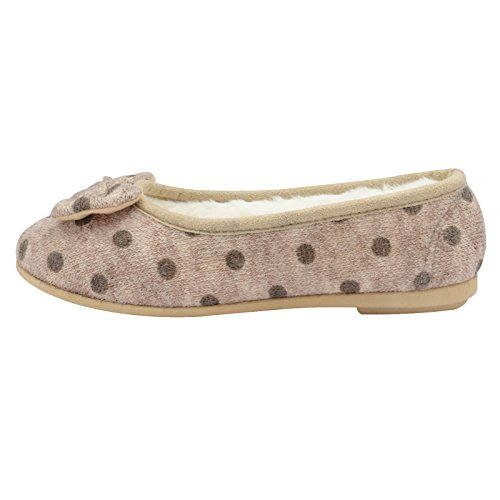 Dunlop Womens Angeline Polka Dot Bow Warm Faux Fur Lined Ballerina Slipper Biscuit - Beige C3UMmRhD