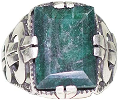 Shiny Green Aqua Marine Stone 925 Sterling Silver Men/'s Ring Handmade Vintage Style Raw Gemstone Ottoman Ring Gift for him