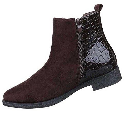 Damen Stiefeletten Schuhe Stretch Chelsea Boots Schwarz Braun